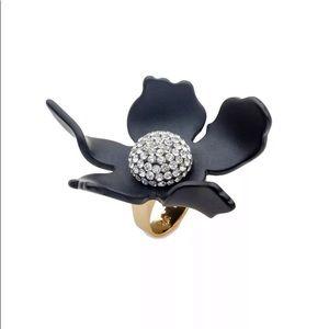 NWOT Lele Sadoughi Crystal Lily Ring
